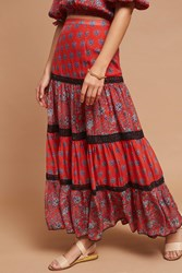 Anthropologie Gia Silk Maxi Skirt Red Motif