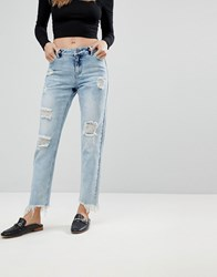 Urban Bliss Cropped Straight Leg Jean With Distressing Lightwash Blue
