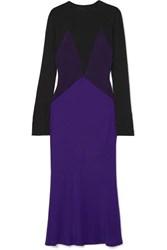Haider Ackermann Color Block Paneled Silk Satin And Knitted Midi Dress Purple