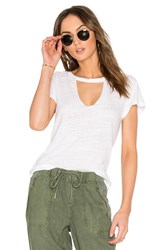 Lna Short Sleeve Cut Out V Tee White