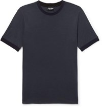 Giorgio Armani Slim Fit Contrast Trimmed Jersey T Shirt Navy