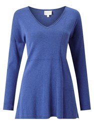 East V Neck Seam Detail Jumper Cobalt