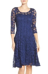 Chetta B Women's 'Magic' Lace Fit And Flare Dress Navy