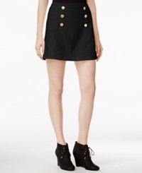 Kensie Quilted Button Detail Skirt Black