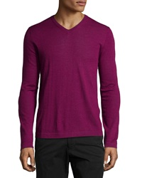 Neiman Marcus Wool V Neck Modern Fit Sweater Magenta