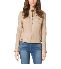 Michael Kors Zip Front Leather Jacket Sandstone