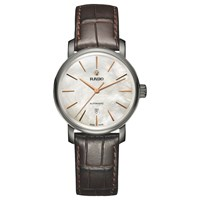 Rado R14026926 Unisex Diamaster Date Automatic Leather Strap Watch Brown Mother Of Pearl
