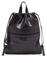 Bottega Veneta Perforated Drawstring Leather Backpack Black