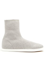 The Row Dean Ribbed Top Leather Trimmed Boots Light Grey
