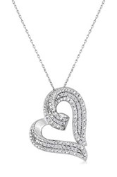 Elani Jewelry Sterling Silver White Diamond Open Heart Pendant Necklace 0.50 Ctw Metallic