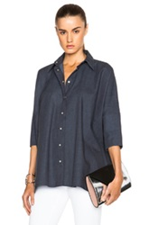 Mm6 Maison Margiela Cotton Chambray Button Down Top In Blue