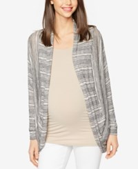 A Pea In The Pod Maternity Open Front Cardigan Grey White