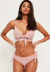 Missguided Pink Bow Detail Lace Bra