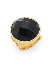 Stephanie Kantis Casablanca Faceted Onyx Ring Gold Black