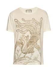 Gucci Paradise Bird Print Linen T Shirt White Multi