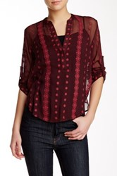 Zoa Silk Roll Sleeve Embroidered Blouse