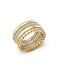 Bloomingdale's Diamond Stackable 4 Band Ring Set In 14K White And Yellow Gold .70 Ct. T.W. White Gold