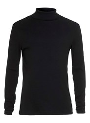 Topman Black Thin Rib Roll Neck Tee