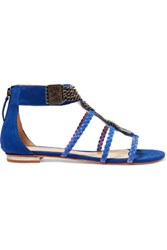 Schutz Embellished Nubuck And Braided Leather Sandals Cobalt Blue