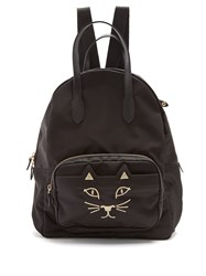 Charlotte Olympia Purrrfect Kitty Embroidered Backpack Black