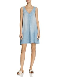 Aqua Chambray Sleeveless A Line Dress 100 Exclusive Blue