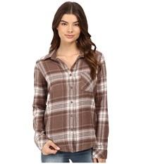 Rvca Jig 4 Top Iron Women's Long Sleeve Button Up Brown