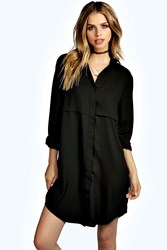 Boohoo Double Placket Woven Shirt Dress Black