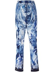 Roberto Cavalli Nature Print Cropped Trousers Blue