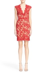 Women's Reem Acra Cap Sleeve Embroidered Lace Sheath Dress