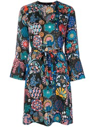 Paul Smith Ps By Printed Belted Dress Polyester Cupro Blue