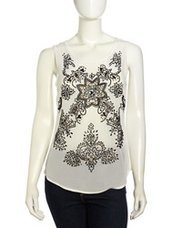 Nicole Miller Sleeveless Floral Beaded Chiffon Blouse Ivory