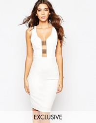 Naanaa Plunge Front Bodycon Dress With Sheer Bandage Sides White