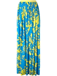 Emanuel Ungaro Abstract Print Pleated Skirt Blue