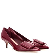 Miu Miu Patent Leather Kitten Heel Pumps Red
