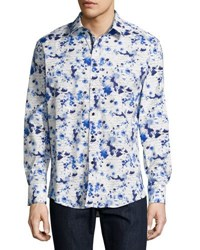 1 Like No Other Floral Script Button Shirt Navy
