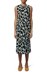 Women's Topshop Boutique Leopard Print Drop Waist Silk Midi Dress
