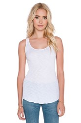 Enza Costa Sheer Slub Rib Baseball Tank White