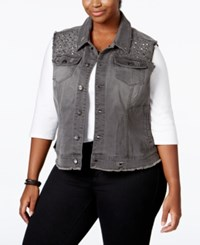 Melissa Mccarthy Seven7 Trendy Plus Size Embellished Denim Vest Clash Gray