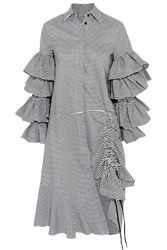 Preen By Thornton Bregazzi Shona Ruffled Striped Cotton Shirt Dress White