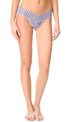Hanky Panky Check Please Low Rise Thong Navy White
