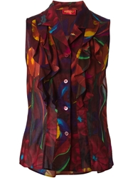 Kenzo Vintage Flower Print Sleeveless Blouse Metallic
