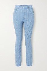 Thierry Mugler Paneled High Rise Slim Leg Jeans Bright Blue