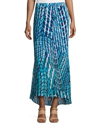 Laundry By Shelli Segal Printed High Low Maxi Skirt Brilliant Blue Multi