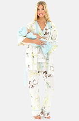 Olian Five Piece Maternity Sleepwear Gift Set Blue Print