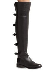 Valentino Leather Over The Knee Bow Boots Black