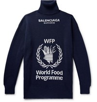 Balenciaga The World Food Programme Oversized Logo Intarsia Virgin Wool Rollneck Sweater Storm Blue