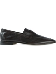 Fratelli Rossetti Distressed Penny Loafers Brown