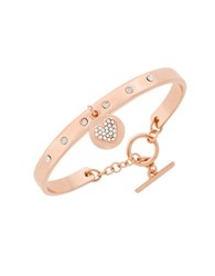 Bcbgeneration Say My Name Glass Stone Heart Toggle Bracelet Rose Gold