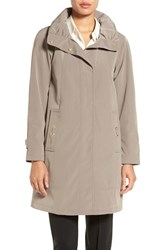 Gallery Petite Women's Silk Look A Line Raincoat With Stowaway Hood Desert Sand