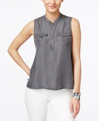 Calvin Klein Jeans Sleeveless Denim Top Washed Black